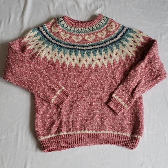 Woolrich fair isle sweatshirt pink hearts VTG wool